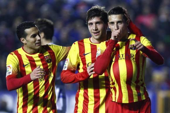 Christian Tello va marcat tres dels quatre gols del Barça. Font: EFE